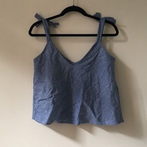 Zara chambray tank with tie shoulders